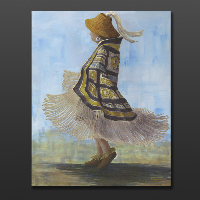 "Leading My Sister Jean Taylor Tlingit Original painting – acrylic on canvas 24"" x 30"" $1980"