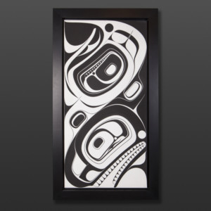"Eagle and Orca Chazz Mack Nuxalk Framed acrylic on canvas 40½"" x 22½"" x 2"" $3200"