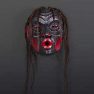 "Dzunukwa Raymond Shaw Kwakwaka'wakw Red cedar, horsehair, paint 13"" x 12"" x 7"" $3800"