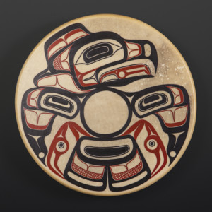 "Eagle Drum David Boxley Tsimshian Elk-hide, paint, wood 18"" dia $1200"