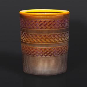 "Steeped Tea Basket Preston Singletary Tlingit hand blown & sand-carved glass 7"" x 5 1/2"""