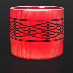 "Red and Black Weave Basket Preston Singletary Tlingit 8 3/4"" x 8"" $8000 glass artist contemporary glass seattle glass"