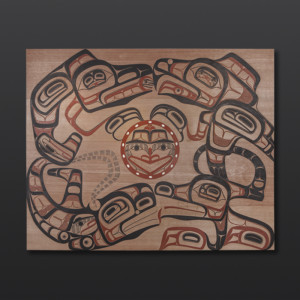 "Four Clans Panel David Boxley Tsimshian Red cedar, paint 48"" x 60"" x 1 1/4"" $12000"