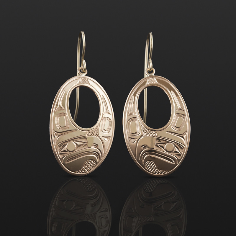 Oval Eagle Earrings Bill Bedard Haida 14k gold $1100
