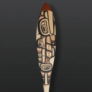 "David Boxley Whale Paddle tsimshian yellow cedar, paint 62"" x 6"" $3900"