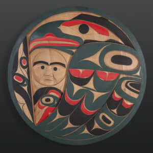 Red and Green Raven Tim Paul Nuu-Chah-Nulth Red cedar, paint