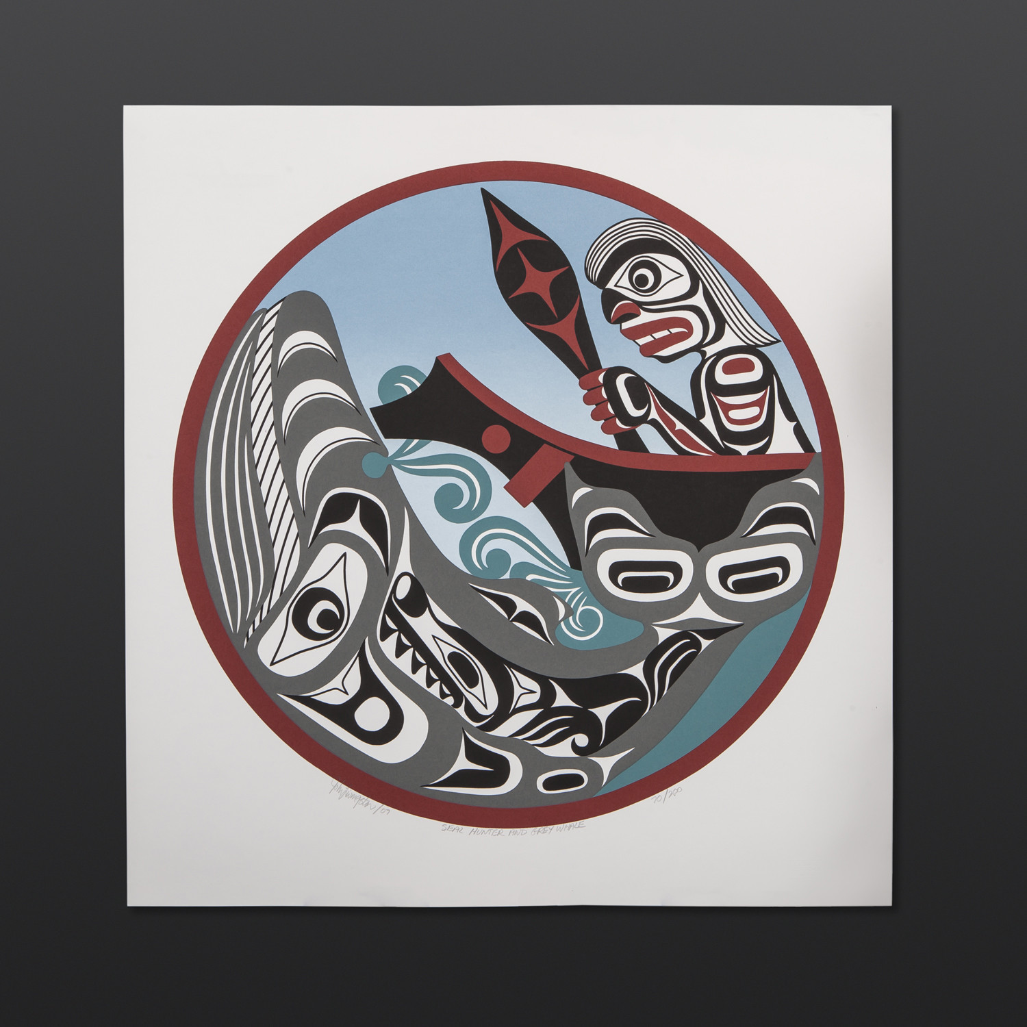"Seal Hunter and Grey Whale John Livingston Kwakwaka'wakw Serigraph 23"" x 22"" $130"