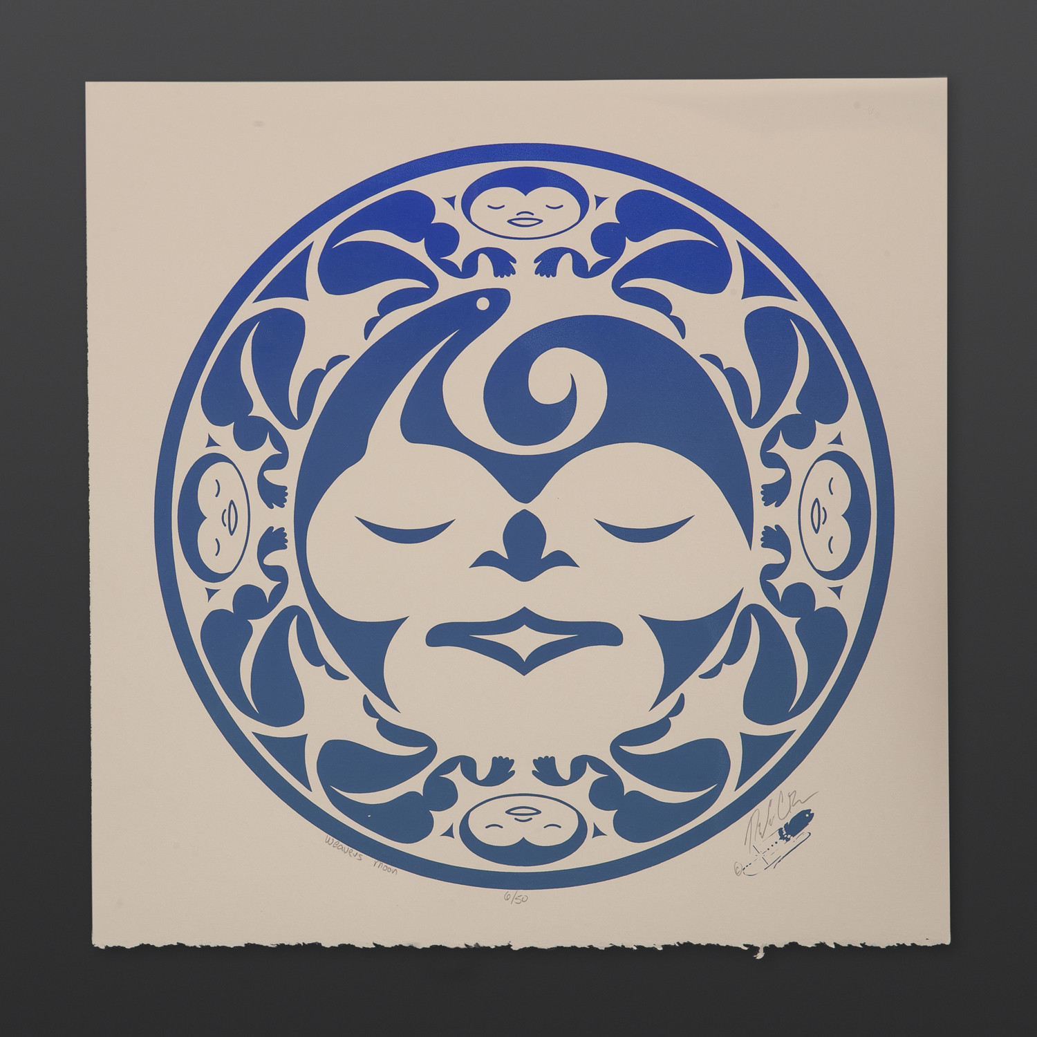 "Weaver's Moon - Blue Peter Boome Coast Salish Limited Edition Serigraph 15"" x 15"" $100"