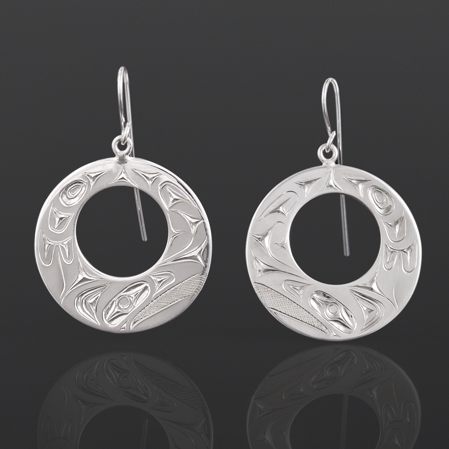"Raven Earrings James Sawyer Haida Silver 1 1/8"" $175"