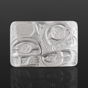 "Bear Belt Buckle Lloyd Wadhams Jr. Kwakwaka'wakw Silver 3""x 2"" $950"