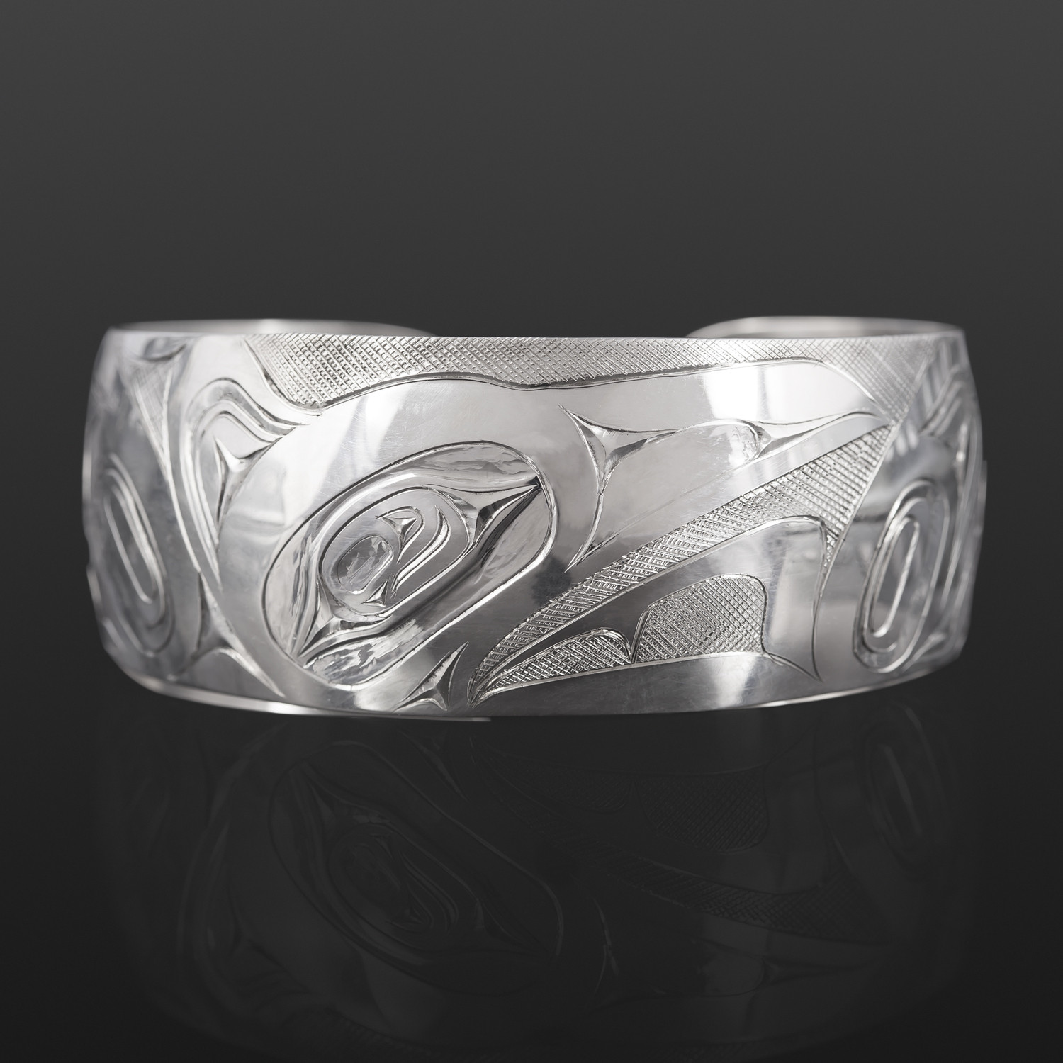 "Raven and Frog Bracelet James Sawyer Haida Silver 1"" $575"