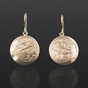 Raven in Moon Earrings William Bedard Haida !4k gold