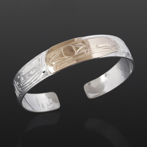Raven Clan Bracelet William Bedard Haida Silver, 14k gold