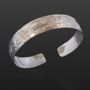 Orca Clan Bracelet William Bedard Haida Silver, 14k goldxv