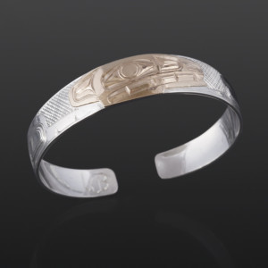 Wolf Clan Bracelet William Bedard Haida Silver, 14k gold