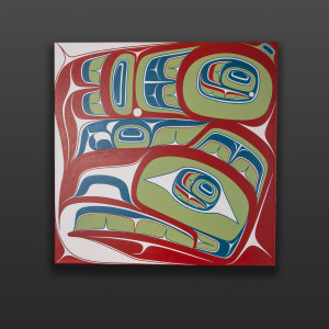 "Gu'ud - Haida Eagle Cori Savard Haida Acrylic on canvas 24"" x 24"" x 1½"" $2400"