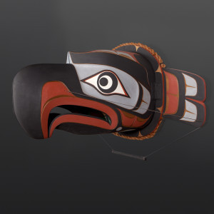 "Eagle Transformation Mask John Livingston Kwakwaka'wakw Cedar, paint, cedar rope 32"" x 20"" x 24"" $9400"