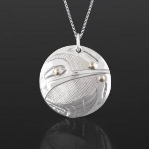 "Hummingbird Pendant Corrine Hunt Tlingit 1¼"" dia. Silver, 14k gold $265"