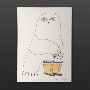 Owls New Boots Ningeokuluk Teevee Inuit Ink, colored pencil 15 x 11 $450