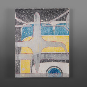 "Hail Clinton Work Kwakwaka'wakw Birch panel, paint 14"" x 11"" $650"