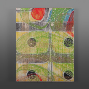 "Wind Clinton Work Kwakwaka'wakw Birch panel, paint 14"" x 11"" $650"