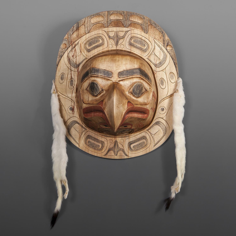 """Chief's Eagle Moon Shawn Aster Tsimshian Alder, paint, ermine 20"""" x 13"""" x 8"""" $4500"""