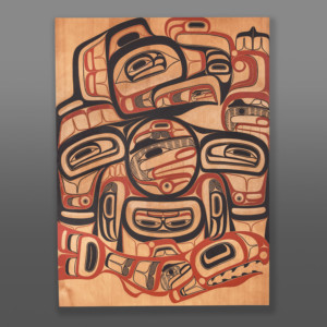 "Eagle and the Young Chief David A Boxley Tsimshian Red cedar, paint 47"" x 35"" x 1¼"" $9800"