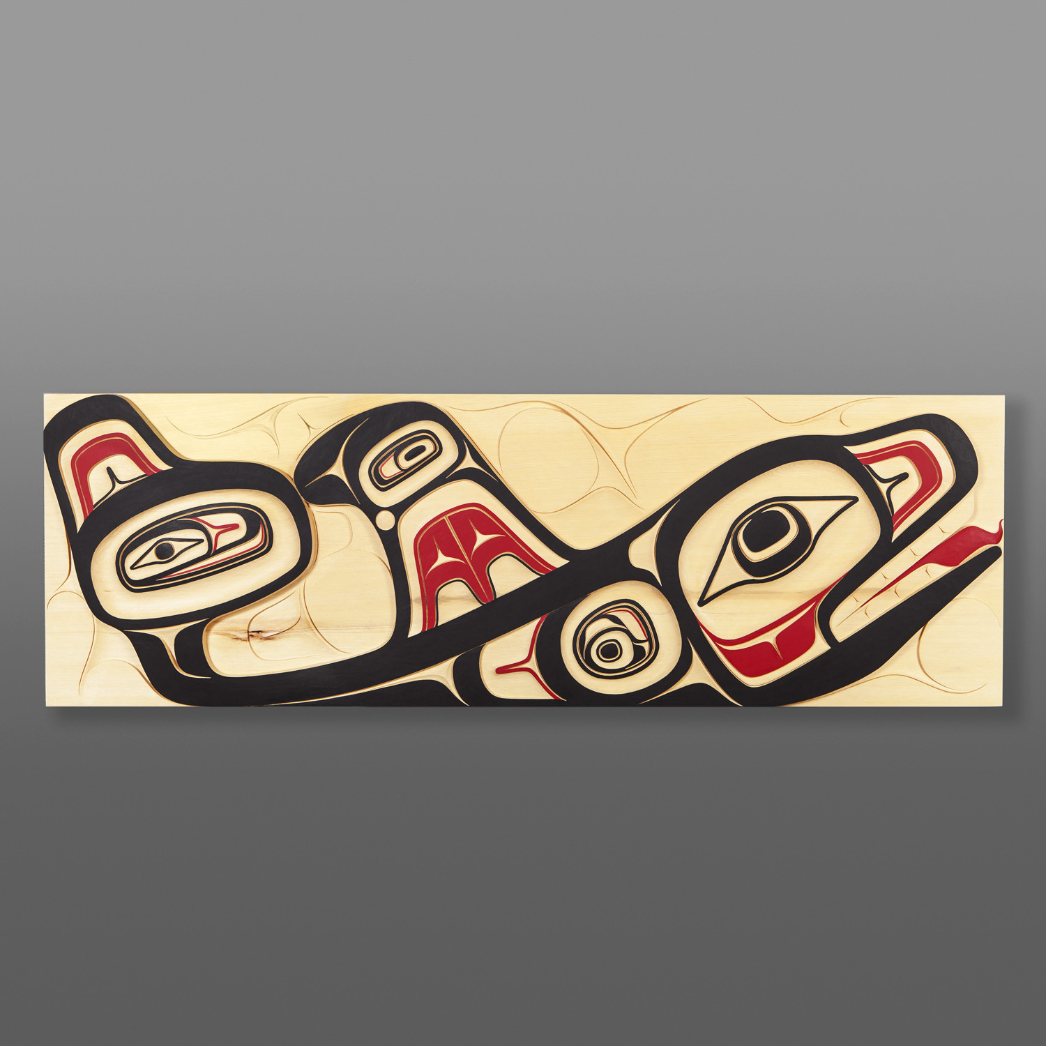 "The One in the Sea Cori Savard Haida Yellow cedar, paint 36"" x 11½"" x 1½"" $5800"