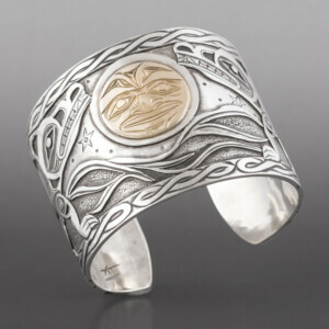 "Wolves and Moon Kelvin Thompson Saulteaux/Haisla Silver, 14k gold 2"" $3000"