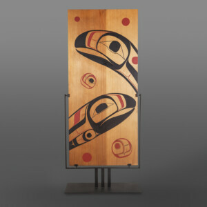 "Salmon Journey Landon Gunn Kwakwaka'wakw Red cedar, paint Custom steel mount 56"" x 23"" $4500"
