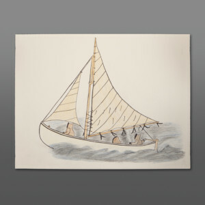 "Sailboat Iyola Kingwatsiak Inuit Color pencil on paper 26"" x 20"" 800CAD"