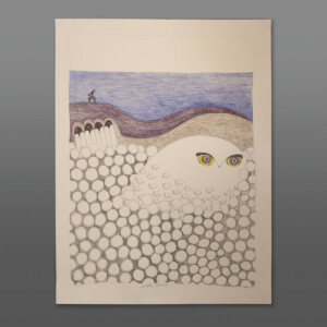 "Ookpik in the Cotton Grass (Hiding from Raven) Ningiukulu Teevee Color pencil, ink on paper 25½"" x 19½"" 1300CAD"