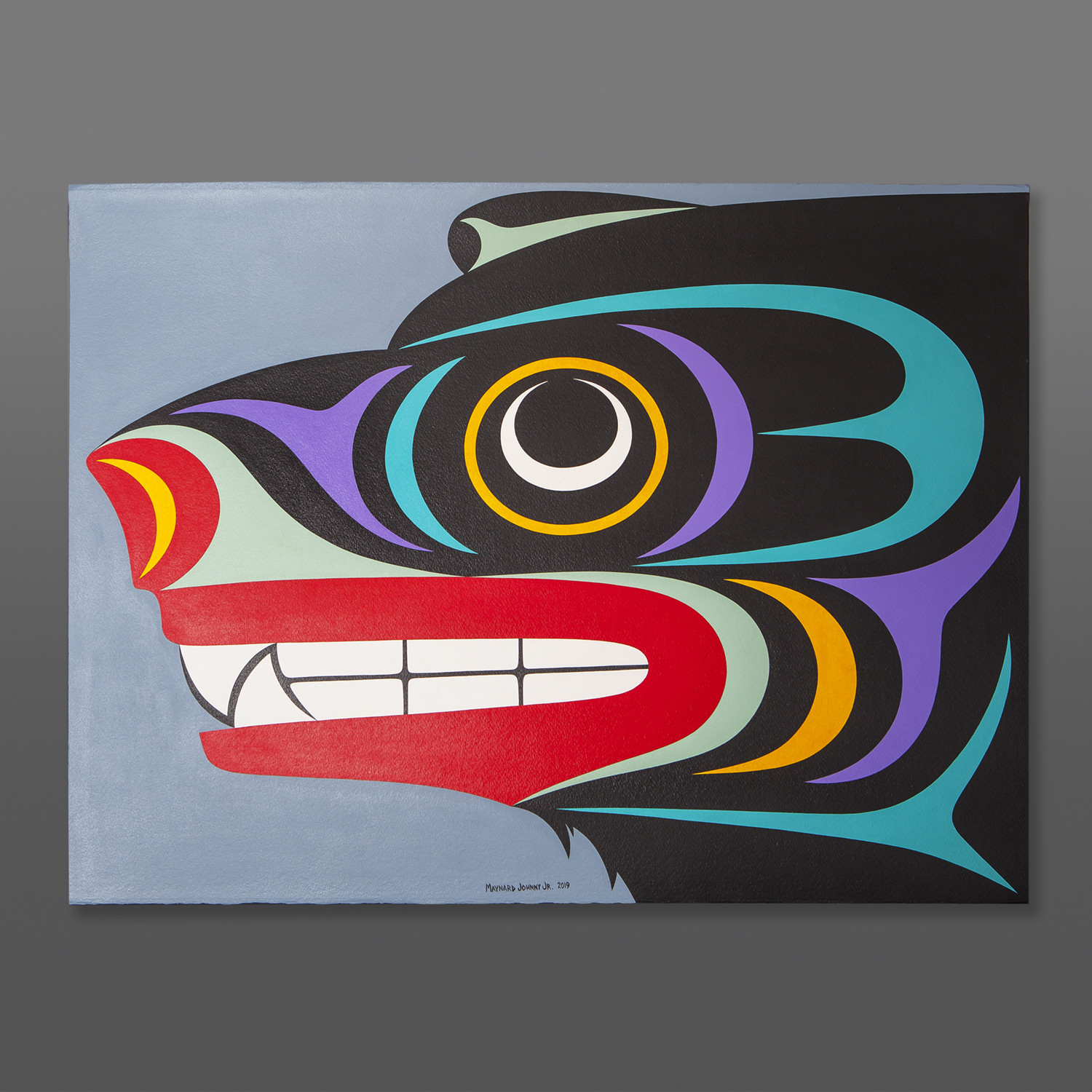 "Black Bear Maynard Johnny Jr Coast Salish Acrylic on paper, conservation framing 40½"" x 33"" $3600"