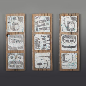 "Sustenance Trio  Clinton Work Kwakwaka'wakw  Canvas panels on cedar 15"" x 5"" x 1"" each  $1200 /set"