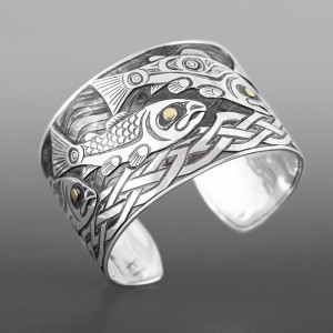 Salmon's Journey Kelvin Thompson Haisla Silver, 14k gold