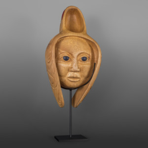 "Spirit of the Seal Bowl Carol Young Bagshaw Haida Alder, paint, custom stand 18"" x 9"" x 5"" (24"" tall with stand) $7500"