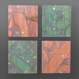 "Wild Salmon  Clinton Work Kwakwaka'wakw  Acrylic on cedar block 5"" x 5"" x 1"" each  $800 /set"