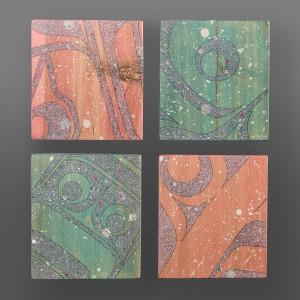 "Wild Salmon  Clinton Work Kwakwaka'wakw  Acrylic on cedar block 5"" x 5"" x 1"" each  $800 /set"