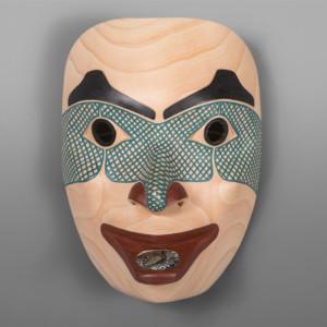 """Spirit Woman David A Boxley  Tsimshian Alder, abalone, paint 9½"""" x 7"""" x 5"""" $3000"""