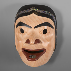 """Potlatch Woman David A Boxley  Tsimshian Alder, abalone, paint 10 x 7"""" x 5½"""" $4500"""