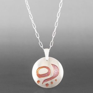 "Abundance, Renewal, Hope Pendant Jennifer Younger Tlingit Copper, silver plate "" $195"
