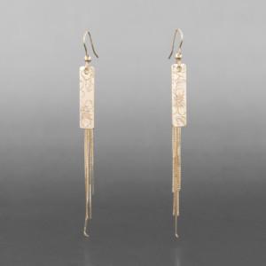 """Wildrose Tassel Earrings Jennifer Younger Tlingit 14k gold """" $875"""