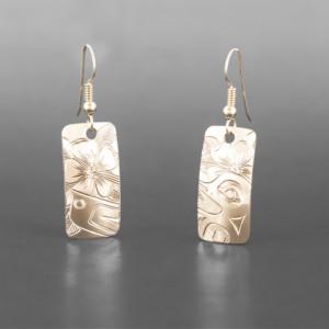 "Hummingbird & Wildrose Jennifer Younger Tlingit 14k gold "" $1200"