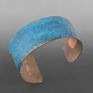 """Blue Hammered Cuff Jennifer Younger Tlingit Patinated copper 1¼"""" tapered $275"""