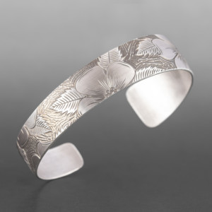 "Wildrose Tapered Bracelet Jennifer Younger Tlingit Silver 6"" x ½"" $400"