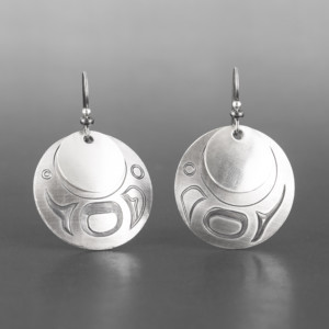 "Moonshadow Earrings Jennifer Younger Tlingit Silver 1 ¼"" dia. $200"