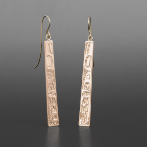 "Orca Earrings William Bedard Haida 14k gold 2""  $750"