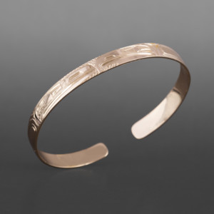 "Lovebirds Bracelet Bill Bedard Haida 14k gold 6"" x ¼"" $1600"