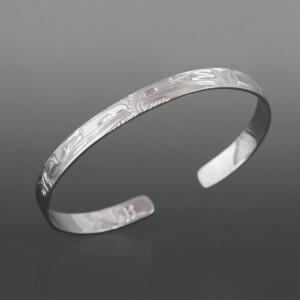 "Lovebirds Bracelet Bill Bedard Haida Silver 3/4"" $225"