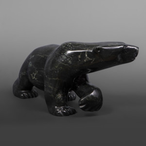 "Large Walking Bear  Quaraq Nungusuituk Inuit  Serpentine #78 12"" x 7"" x 7""  $2800"